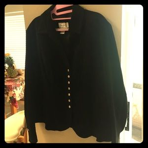 Black suede leather jacket XL